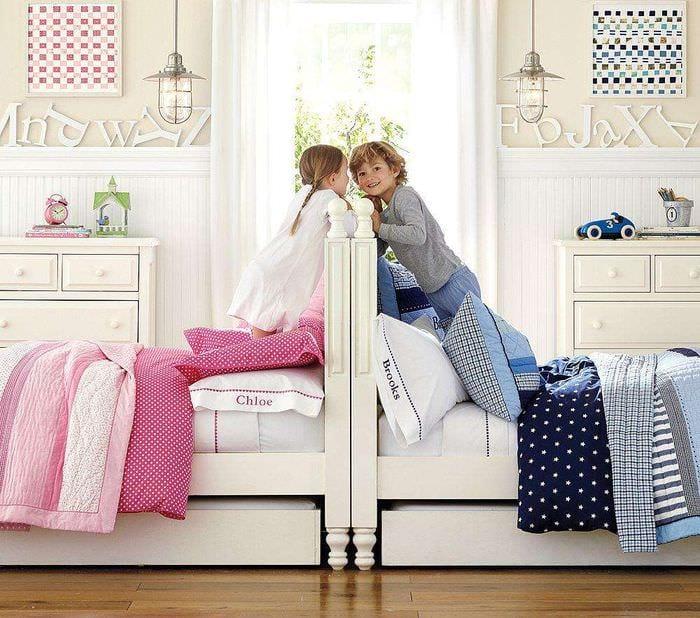 зонирование комнаты мальчика и девочки