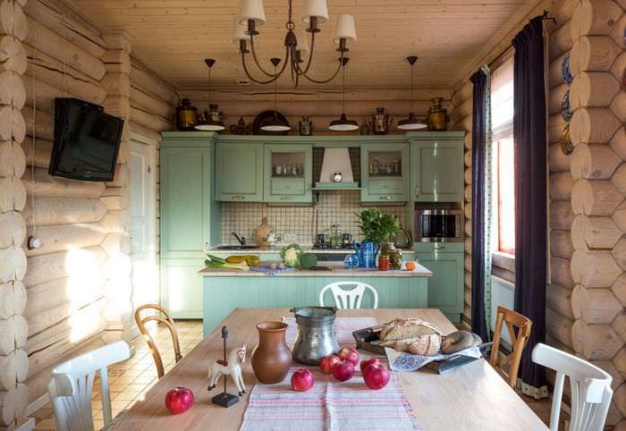 Оформление гостиной бревенчатого дома в стиле прованс