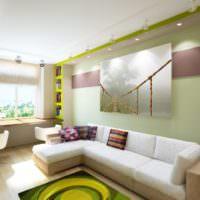 Современный стиль в оформлении стены над диваном