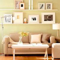 Фотографии в оформлении стены над диваном