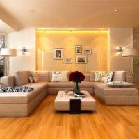 Подсветка ниши за диваном в гостиной