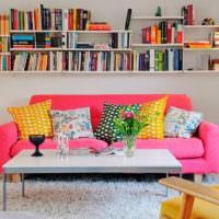 Красный диван и книжные полки в гостиной