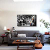 Картина над диваном в дизайне гостиной