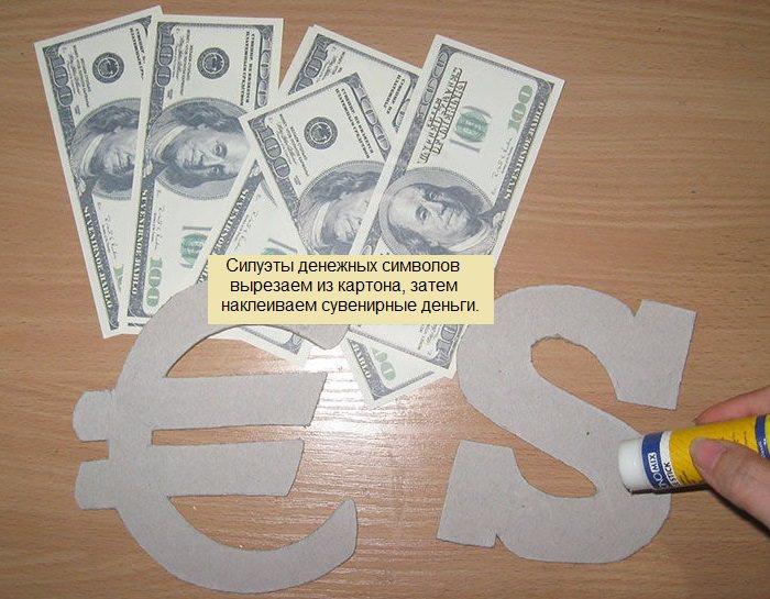 Изготовление денежных символов для оформления бутылки коньяка