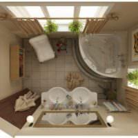Угловая ванна в малогабаритном санузле, вид сверху