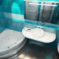 Угловая ванна в интерьере совмещенного санузла