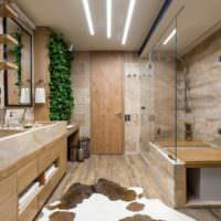 Богатый интерьер совмещенного санузла в частном доме