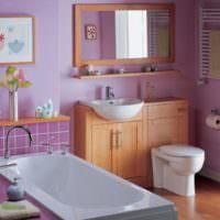 Совмещенный санузел в розово-фиолетовых оттенках