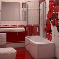 Ванна с душем вдоль стены в совмещенном санузле