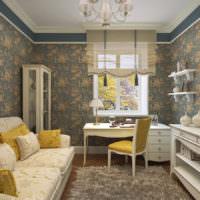 Жилая комната загородного дома в стиле прованс