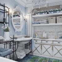 Убранство ванной комнаты загородного дома