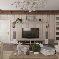 Телевизор в гостиной загородного дома в стиле прованс