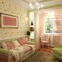 Розовые и салатовые оттенки в интерьере стиля прованс