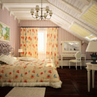 Спальня в стиле прованс в мансарде загородного дома