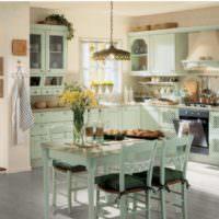 Обеденный столик на кухне в стиле прованс