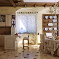 Стулья с балахонами на кухне в стиле прованс