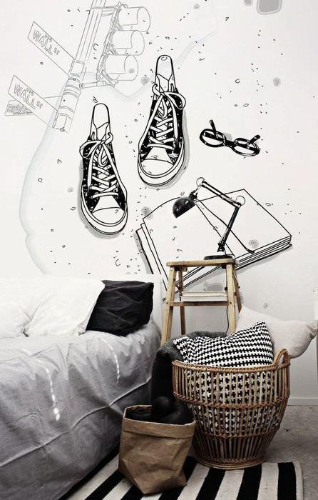 Фотообои на стене спальни подростка