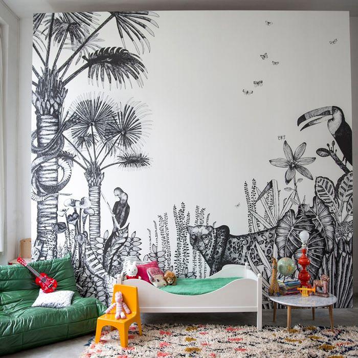 Фотообои-раскраски в интерьере детской спальни