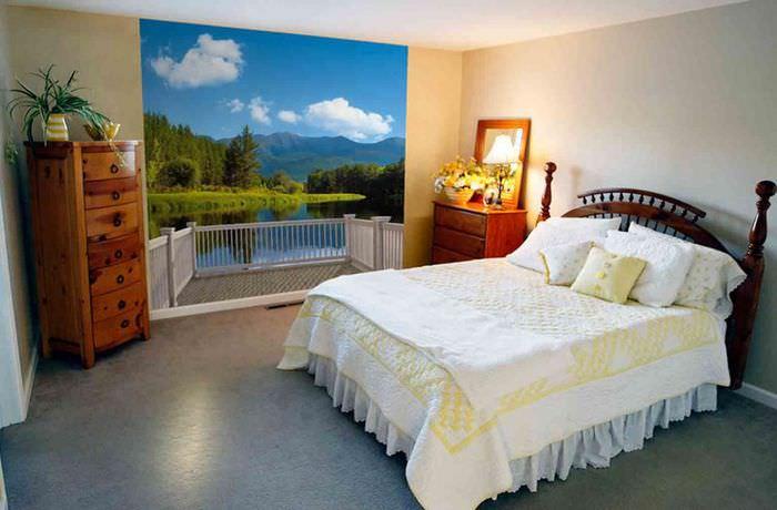 Фотообои с растительным ландшафтом в дизайне спальни