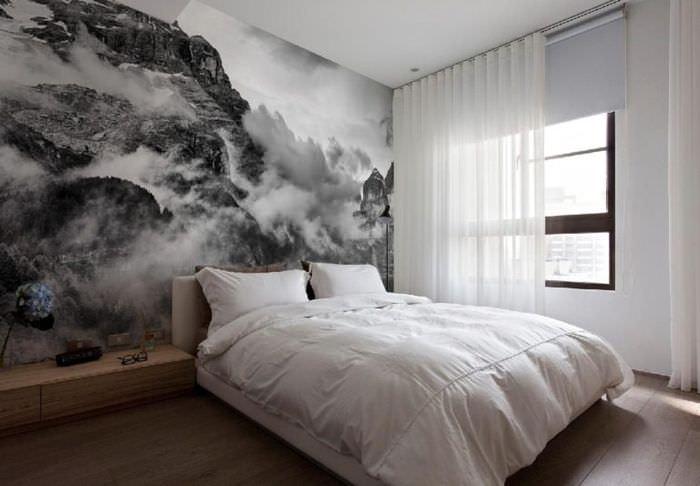 Фотообои в интерьере спальни площадью 12 кв метров