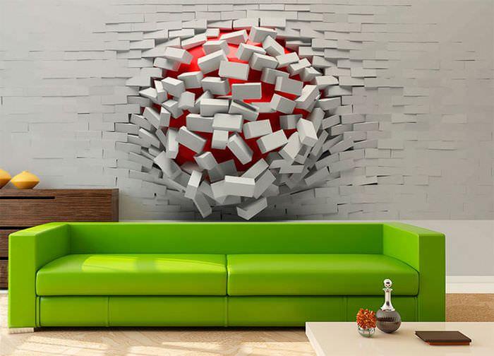 Футуристичные обои в дизайне стены над диваном