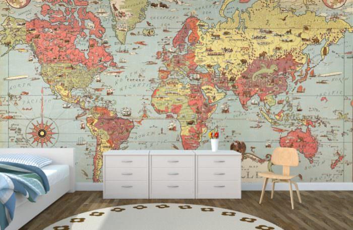 Фотообои в виде географической карты в спальне школьника