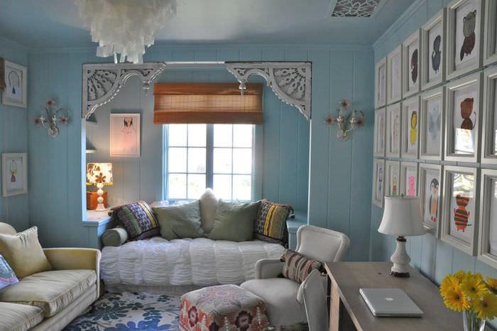Дизайн гостиной загородного дома в стиле прованс