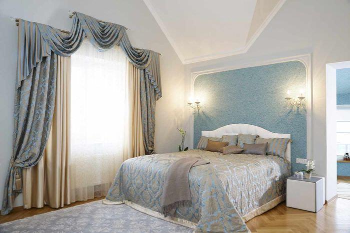 идея яркого украшения стиля стен в спальне