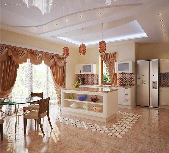 пример светлого стиля окна на кухне