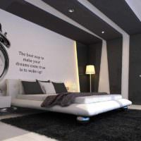 пример светлого украшения стиля стен в спальне фото