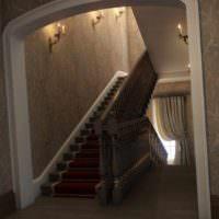 вариант красивого интерьера лестницы фото