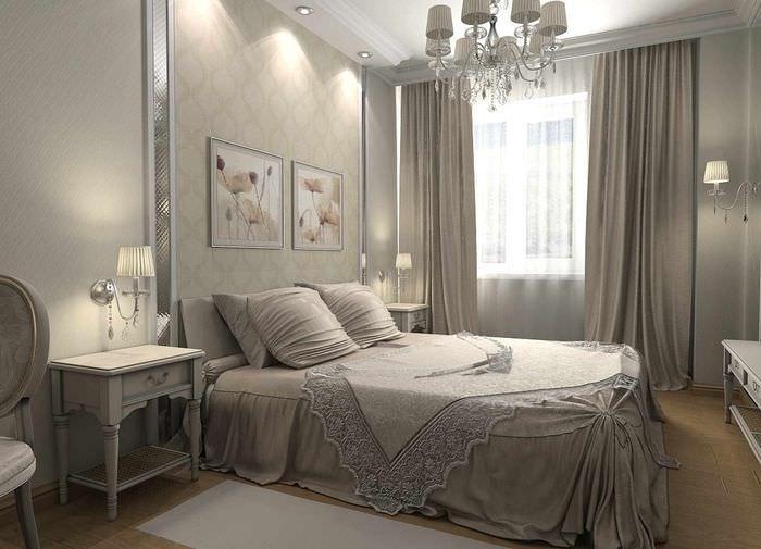 пример красивого оформления декора стен в спальне