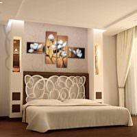 вариант светлого оформления декора стен в спальне фото
