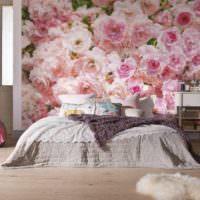 идея светлого оформления дизайна стен в спальне картинка