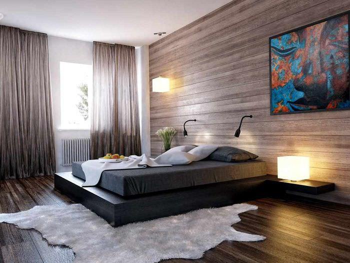 вариант необычного украшения декора стен в спальне