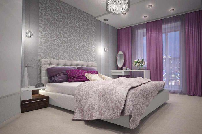 пример светлого украшения дизайна стен в спальне