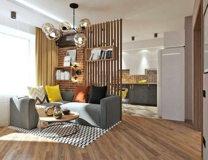 вариант использования перегородки в дизайне комнаты