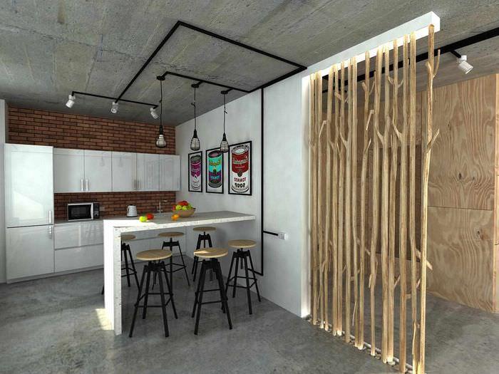 идея применения перегородки в интерьере комнаты