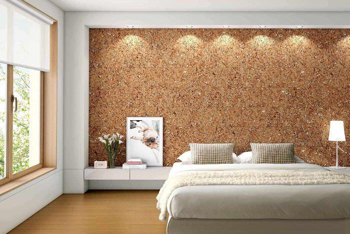 пример применения пробки в декоре комнаты