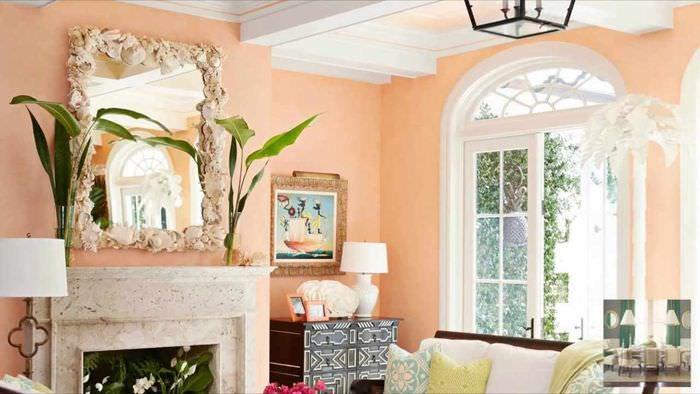 идея сочетания яркого персикового цвета в стиле квартиры