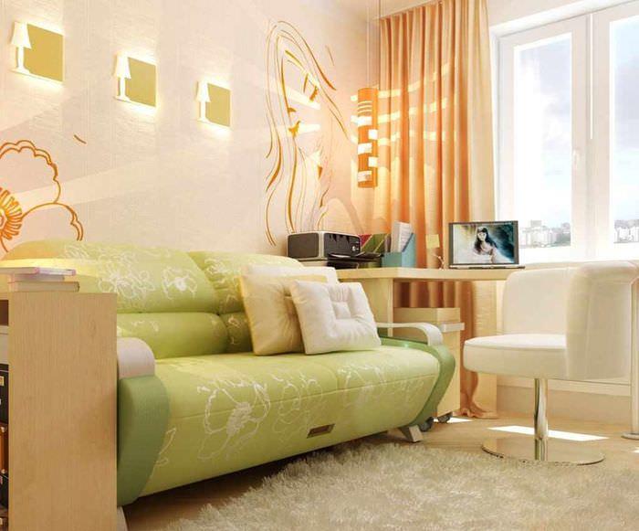 вариант сочетания необычного персикового цвета в декоре квартиры