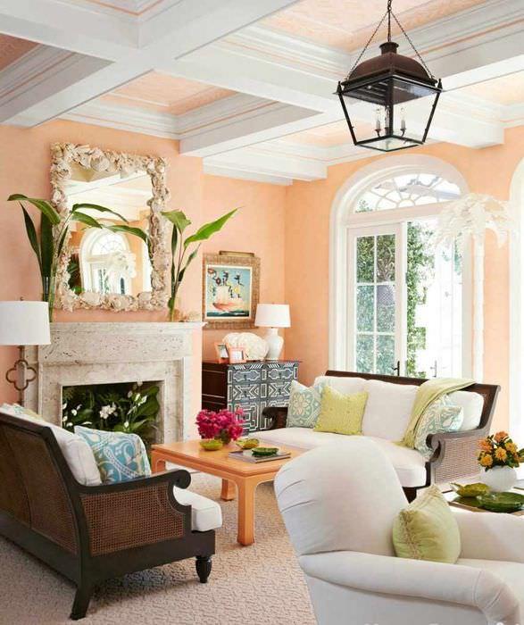 вариант сочетания светлого персикового цвета в интерьере квартиры