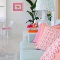 идея сочетания красивого персикового цвета в декоре квартиры фото
