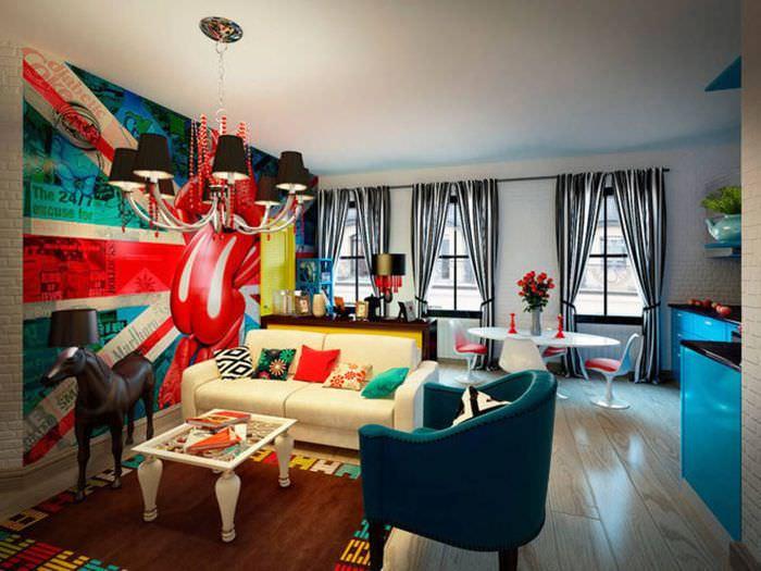 пример яркого интерьера квартиры в стиле поп арт