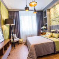 вариант яркого оформления стиля стен в спальне картинка
