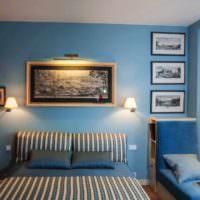 пример необычного оформления дизайна стен в спальне фото