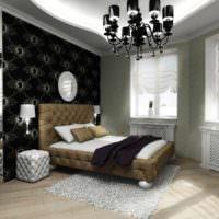 вариант светлого украшения стиля стен в спальне картинка