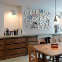 идея светлой поделки для дизайна кухни фото
