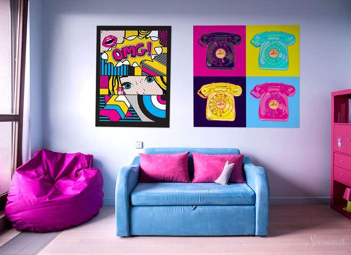 вариант необычного интерьера комнаты в стиле поп арт