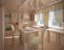 вариант яркого дизайна окна на кухне картинка